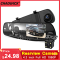 4.3inch Dual Lens Car Rearview Camera G-Gensor Motion Detection Car Dvr 170° Night Vision Dash Cam for Touch Screen