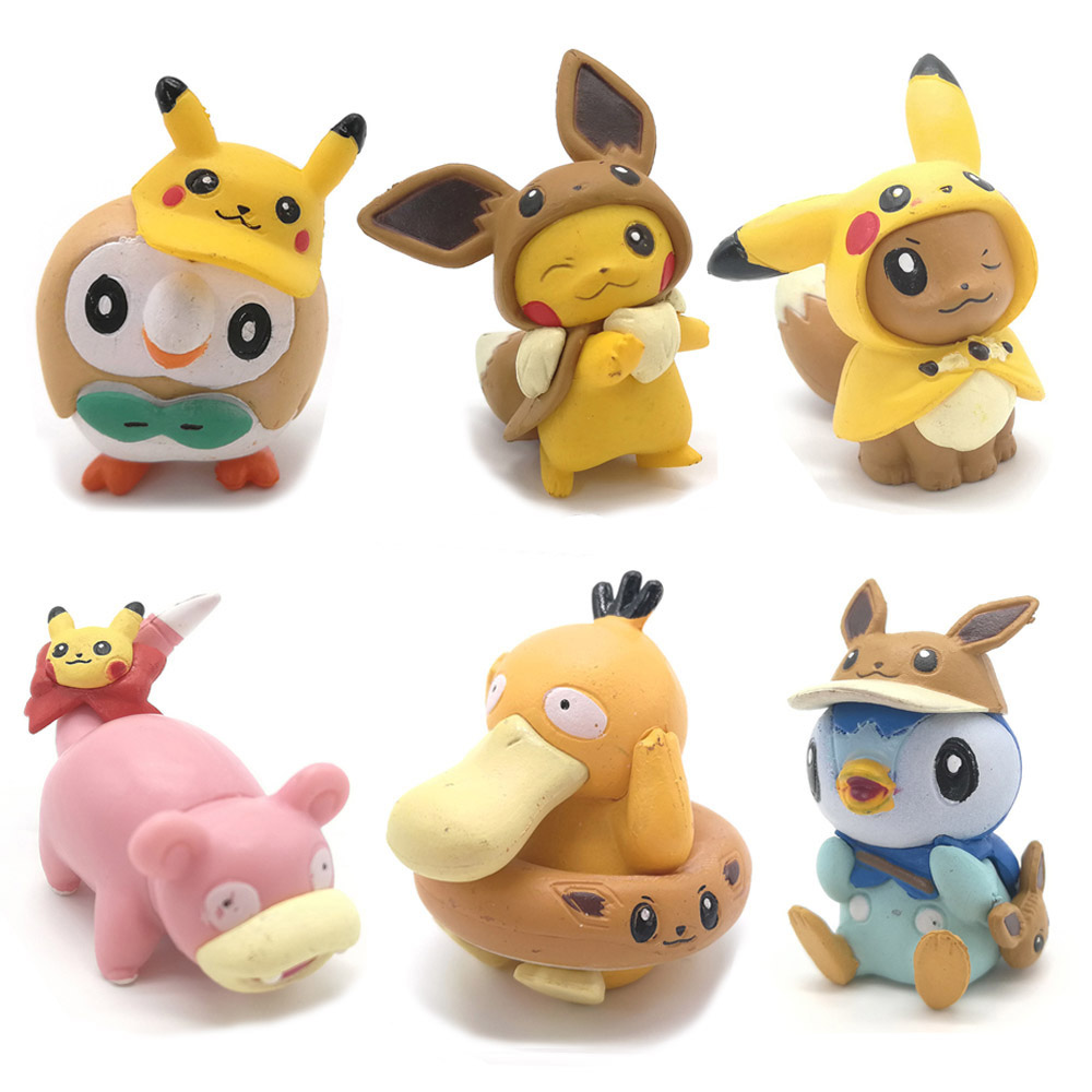 Eevee Pikachu Psyduck Slowpoke Rowlet Piplup Action Figure Toy 4cm PVC Model Toys For Kids Birthday Christmas Gift