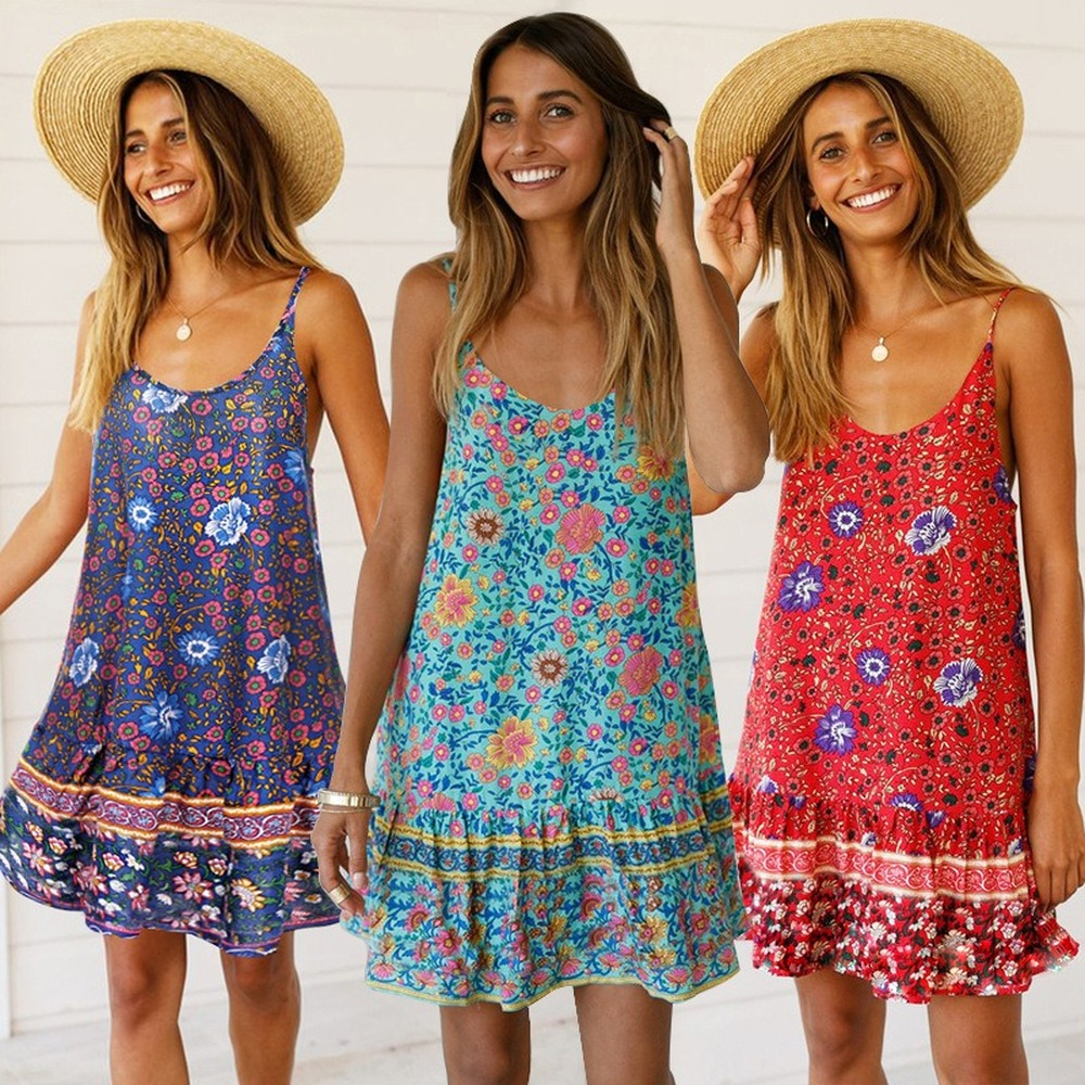 Sexy Suspendersfor Women Dress Printing Dresses Lotus Leaf V-neck Pleated Skirt Fashion Dress Spring Summer 2020 Collection