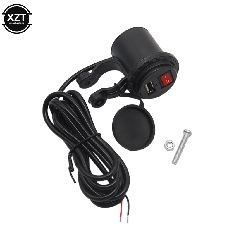 12V USB Motorcycle Mobile Phone Power Socket Plug Waterproof With Switch Cigarette Lighter Socket Motorbike Phone Supply Adapter