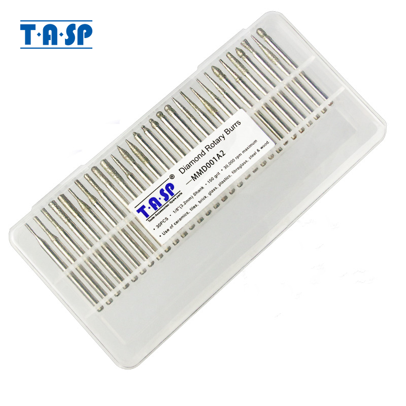 TASP 30pcs 3.2mm Shank Diamond Coated Rotary Burrs Abrasive Grinding File Bit Set Tools Accessories