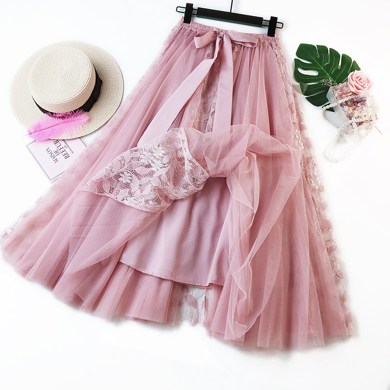 Pleated chiffon high waist women long dress lace long skirt fashion 2019 temperament pettiskirt in Skirts from Women 39 s Clothing