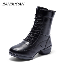JIANBUDAN Winter fitness boots Womens outdoor Casual waterproof snow autumn female Comfortable Leather Dancing