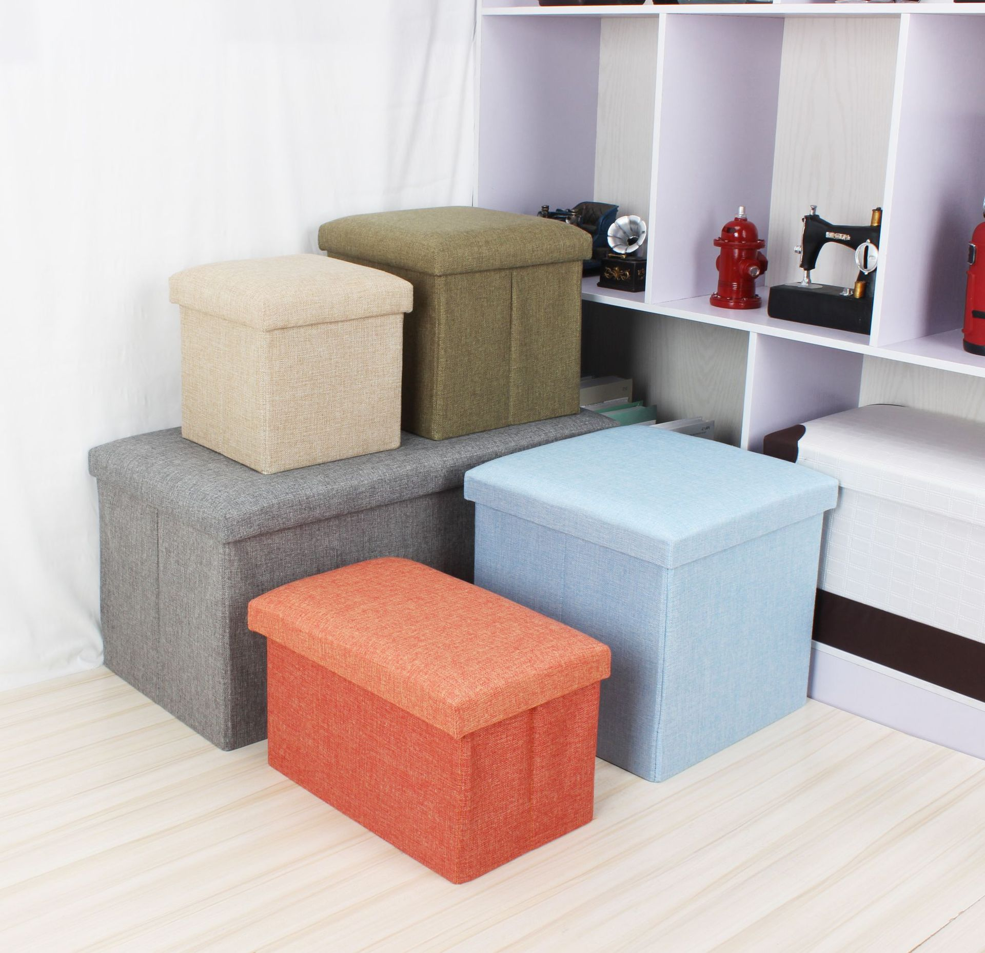 Creative Home Large Size Folding Storage Stool Home Storage Box Shoes Storage Chair Fabric Finishing Box Customizable