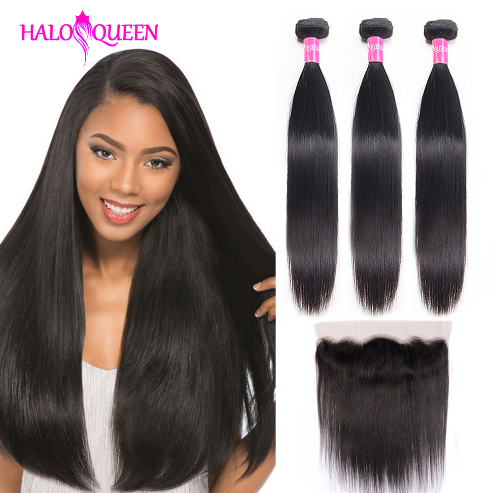 HALOQUEEN Straight Hair Bundles With 13*4  Frontal Brazilian Human Hair Bundles With Frontal Natural Color Bundles With Closure