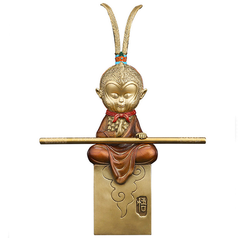 YONG HE XUAN Brass Fighting Monkey Handmade Hand-Painted Coloring Lost-Wax Process Home Decoration Net Weight:1019g (Approx.)
