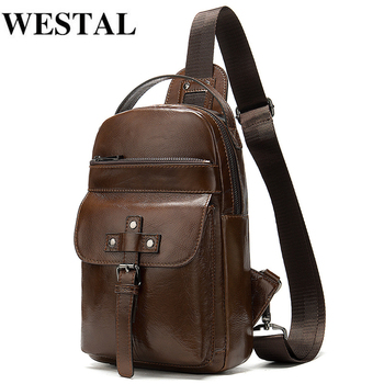 WESTAL Genuine Leather Men's Shoulder/Crossbody Bag For Men Messenger Bags Vintage Leather Sling Bag Man Chest Pack Bag Travel qibolu genuine leather mens sling bag single shoulder bag men chest pack messenger crossbody bag for man bolsas masculina mba37