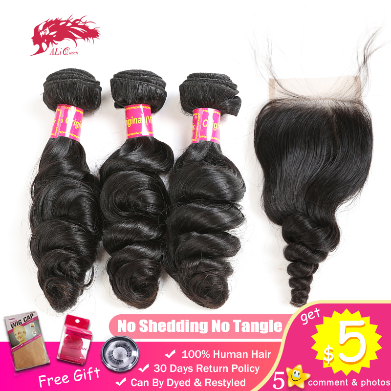 Ali Queen Loose Wave Bundles With Closure One-Donor Unprocessed Virgin Brazilian Human Hair 4x4 Swiss Lace Free Part