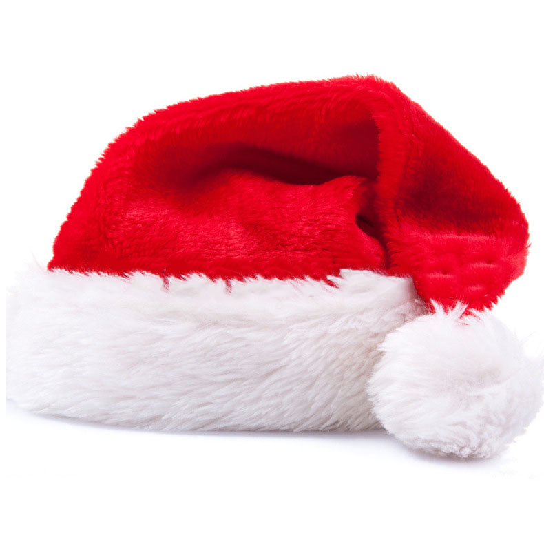 Christmas Day Dress Up Plush Thick Upscale Christmas Hat Short Plush Christmas Hat Adult