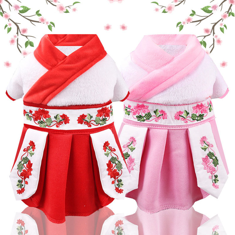 <font><b>Winter</b></font> Pet Coral Fleece <font><b>Dress</b></font> Chihuahua Princess <font><b>Dog</b></font> Warm <font><b>Dresses</b></font> For <font><b>Dogs</b></font> Cats Suitable Pet Cat New Year Clothes Skirts image