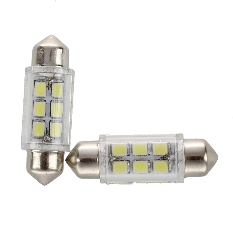 H1b21d10cffc548ac944bfb2de84ed8a6h - 2pcs White e 6 SMD LED Car Interior Festoon Bulb C5W Light Lamp 36mm DC 12V