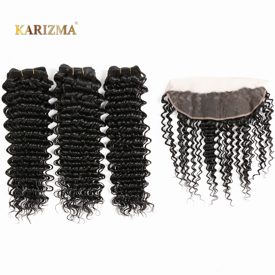 Karizma Peruvian Deep Wave Bundles With Closure Lace Frontal 13X4 100% Human Hair Bundles With Frontal Non Remy Hair Extensions