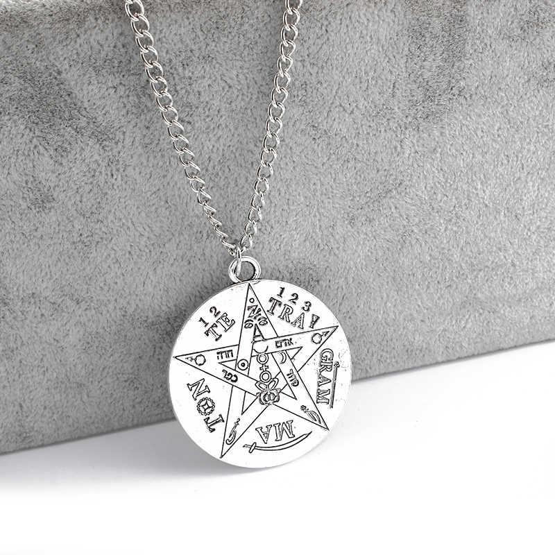 1 sztuk modny naszyjnik srebrny kolor tetragram Pentagram Pentagram Wicca Pagan wisiorek naszyjnik Link łańcuchy biżuteria prezenty