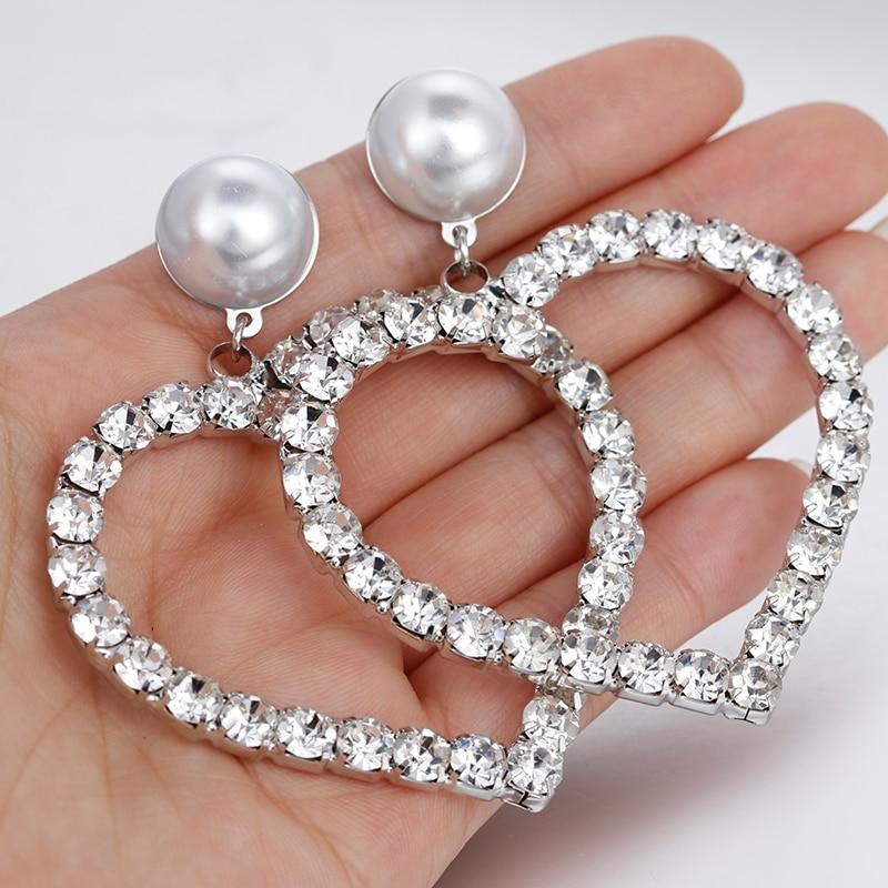 Rhinestone Earrings For Women Heart