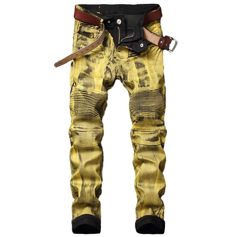 Idopy Men's Biker Jeans Gold Silver Coated Painted Waxed Motorcycle Denim Trousers For Male Plus Size 28-40