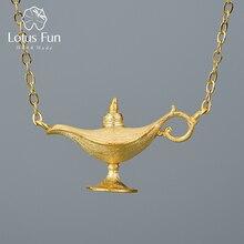 Loto Divertimento 18K Oro Lampada di Aladdin Pendente Della Collana Reale 925 Sterling Silver Naturale Fatto A Mano Del Progettista Gioielleria Raffinata Per le donne