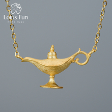 Lotus Fun 18K Gold Aladdins Lamp Pendant Necklace Real 925 Sterling Silver Natural Handmade Designer Fine Jewelry for Women