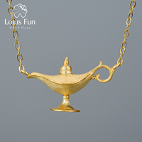 Lotus Fun 18K Gold Aladdin's Lamp Pendant Necklace Real 925 Sterling Silver Natural Handmade Designer Fine Jewelry for Women