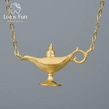 Lotus fun 18k ouro aladdin lâmpada pingente colar real 925 prata esterlina natural artesanal designer jóias finas para mulher