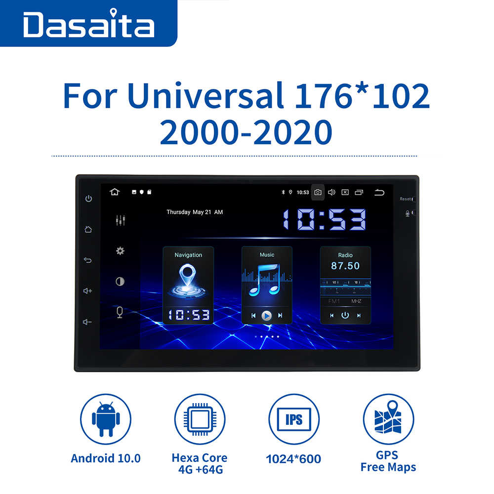 "Dasaita 7 ""IPS Display della Radio Auto Android 10.0 Universale 2 Din HDMI Navigatore GPS 1080P Video 64GB ROM MAX10"