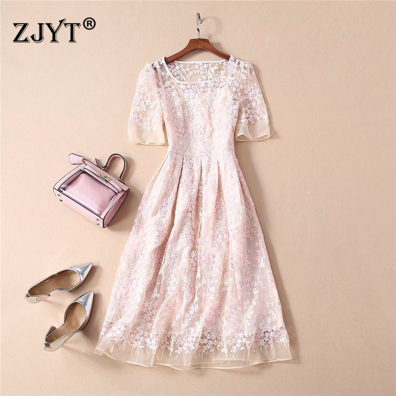 Top Quality Fashion Runway Dress Spring Summer 2020 Women Elegant Short Sleeve Floral Embroidery Sweet Sexy Tulle Party Dress