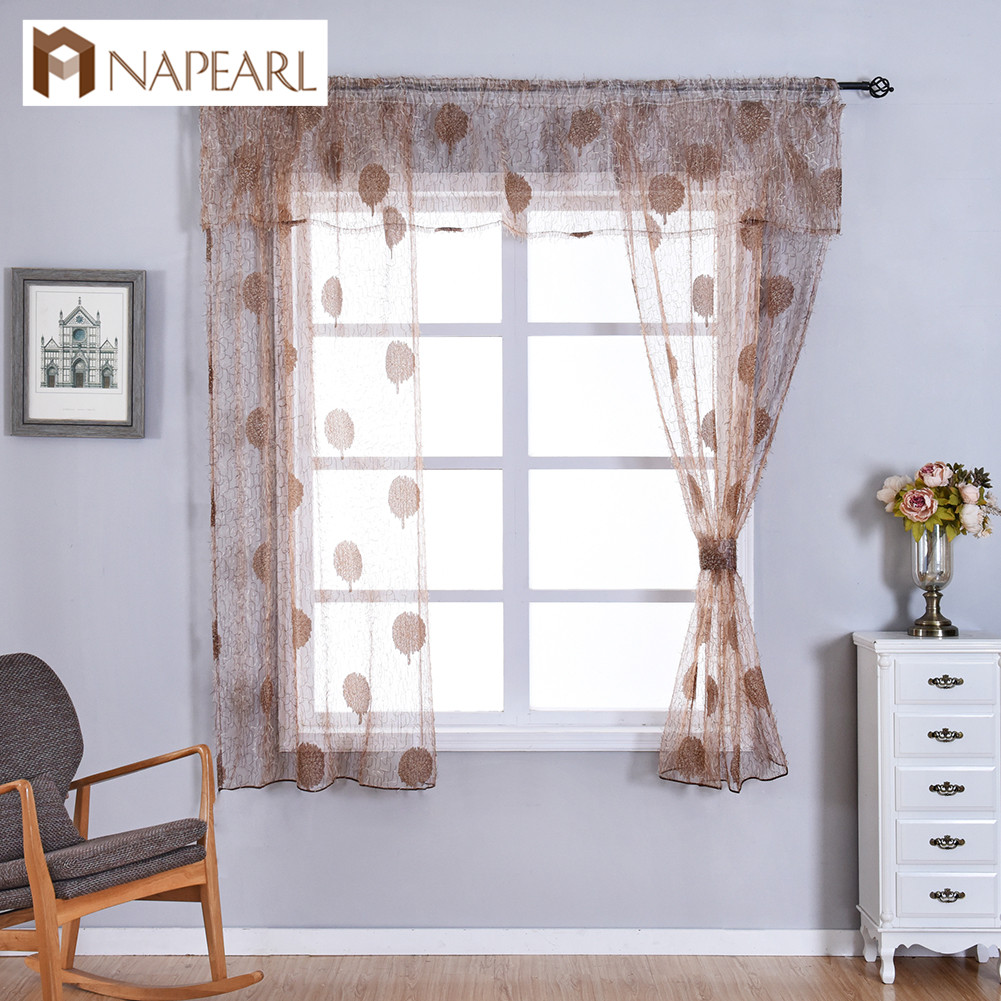 NAPEARL Transparent Classic Tulle Window Valance And Tiers Kitchen Curtain Quality Short Sheer Drapes Leaf Home Decoration Voile