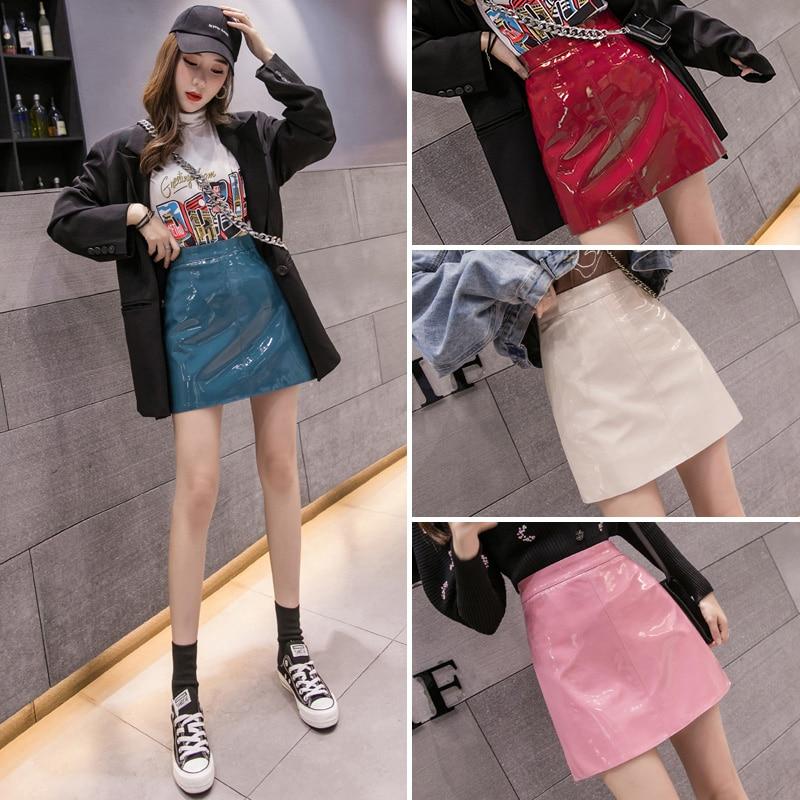HELIAR Women Sexy PU Leather Skirt 2020 Spring Bodycon A-line Women Pleated MINI Skirts Spring Mini Skinny Skirts For Women