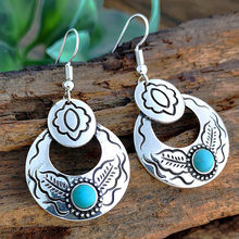 Vintage Boho Turquoise Gemstone Drop Dangle Hooks Earrings Wedding Engagement(China)