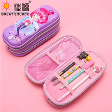 Mermaid Princess Pencil Case With Light Embossed Pattern Girls Pen Box Stationery Organizer Box Big Space Storage School(8PCS)