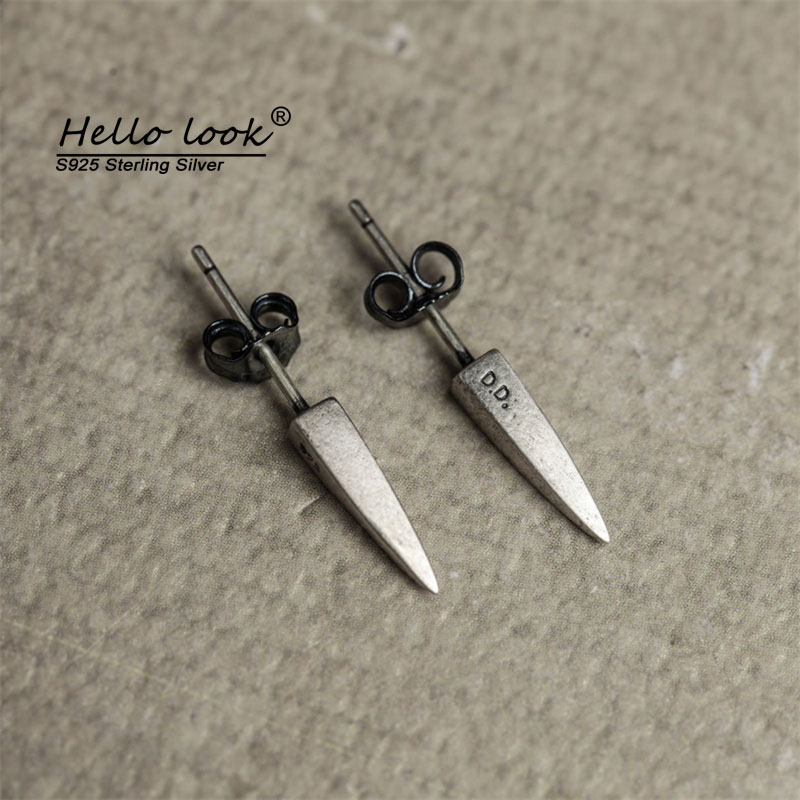 HelloLook 925 Sterling Silver Creative Awl Stud Earrings Exaggerated Personality Ear Pin Piercing Jewelry