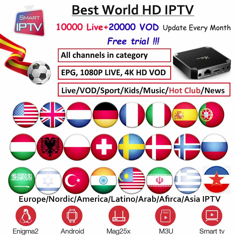 X96mini IPTV Subscription For Europe Germany Dutch Poland French ES Sweden Nordic USA Arabic Indian Albania M3u Android Engima2
