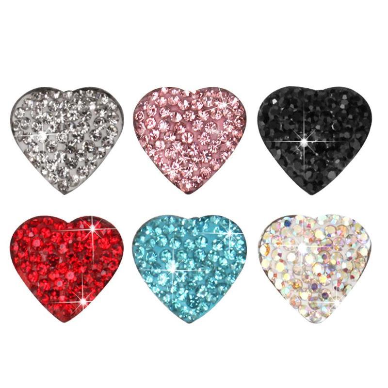 6pcs Voiture Car Rhinestone Heart Button Sticker Auto Car Interior Decoration Styling Accessories  Para Auto Goods