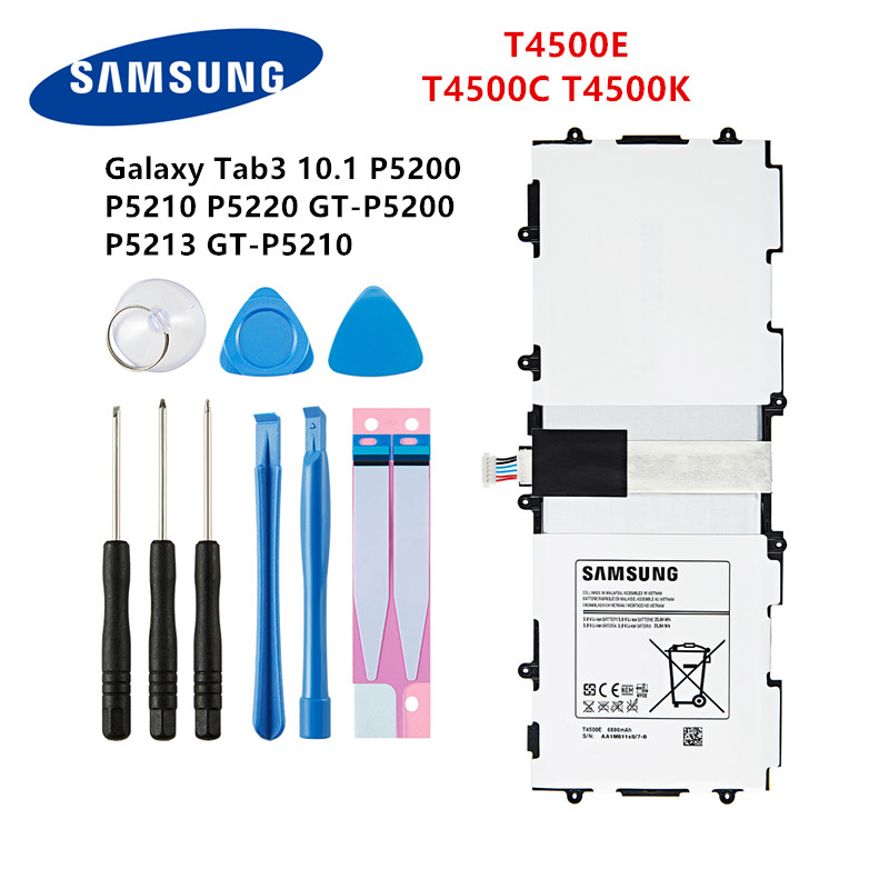 SAMSUNG Orginal Tablet T4500C T4500E T4500K Battery 6800mAh For Samsung Galaxy Tab3  P5200 P5210 P5220 P5213 Batteries +Tools