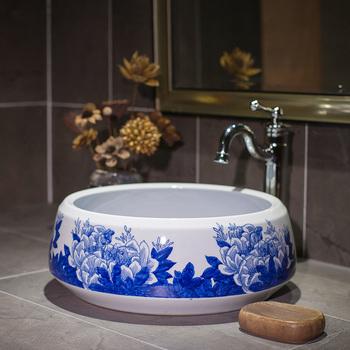 Artystyczny Procelain europa Vintage Style Art umywalka blat ceramiczny umywalki ceramiczne umywalki umywalki łazienkowe tanie i dobre opinie Pojedynczy otwór ROUND CN (pochodzenie) Zlewozmywaki blatowe Zlewy na szampon Rozpylanie emalii as show picture porcelain