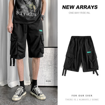 Multi Pockets Cargo Shorts Mens Casual Summer Hip Hop Baggy Streetwear Lace Up Male Joggers Short Trousers