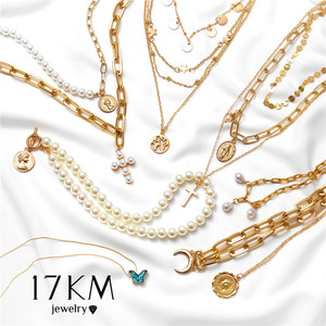 17KM Vintage Gold Portrait Coin Pearl Pendant Necklaces For Women Bohemia Fashion Muklltilayer Pearl Long Necklace 2020 Jewelry(China)
