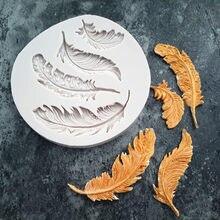 Sugarcraft molde de silicone ferramentas de decoração do bolo de chocolate molde de cozimento pena fondant bolo animais aves pluma diy molde n20