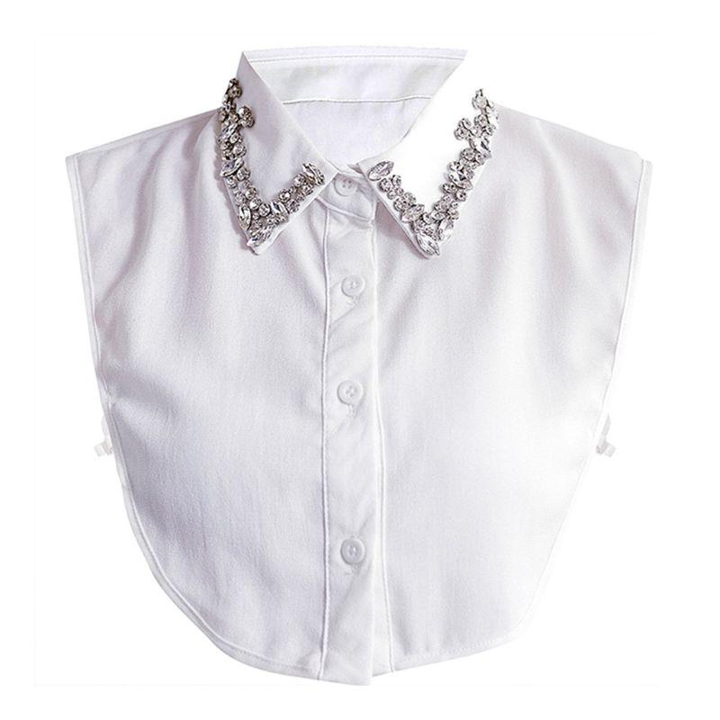 Korean Jewelry Vintage False Fake Collar Gorgeous Handmade Faux Crystal Rhinestone Pointed Lapel Detachable Half-Shirt