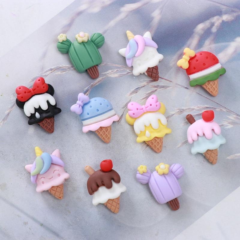 Заколка для волос «сделай сам» из смолы, милая плоская застежка с рисунком мороженого, 10 шт./лот, материал для рукоделия, украшение с бантом