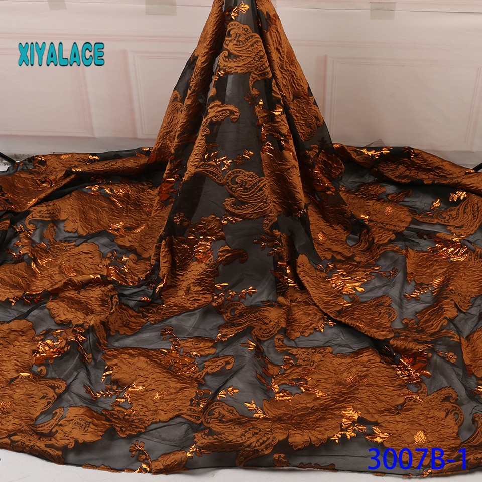 Latest Brocade Lace Fabric High Quality African Wedding Lace Fabric 5 Yards French Jacquard Lace For African Lace YA3007B