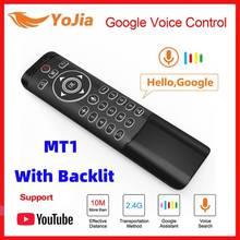 Backlit Stimme 2,4 GHz Wireless Air Maus Fernbedienung Google Mikrofon Gyro IR Lernen LED Für Android TV Box