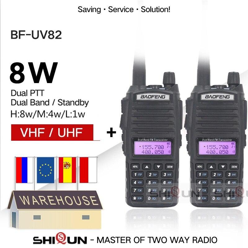 2pcs Baofeng UV-82 Walkie Talkie 8W Radio UV 82 Dual PTT Two Way Radio Tri Power Dual Band Dual Display Radio 10 KM Baofeng UV82
