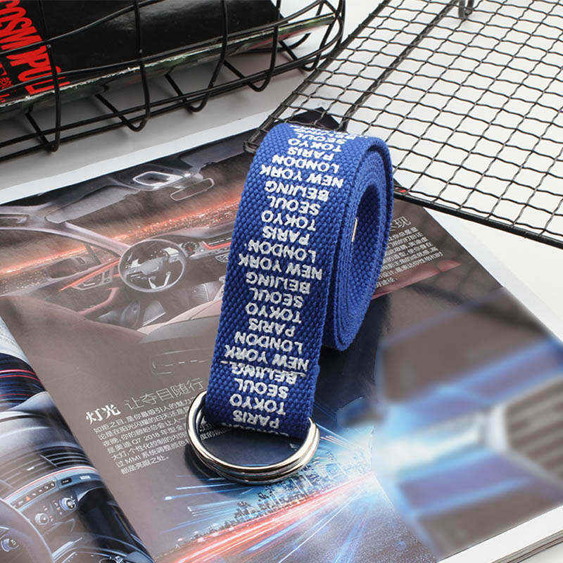 24 стиля, унисекс, холщовые ремни с буквенным принтом, d-образное кольцо, двойная пряжка, панковский ремень на талию, для женщин, мужчин, подростков, длинный широкий белый ремень - Цвет: Blue Small letter
