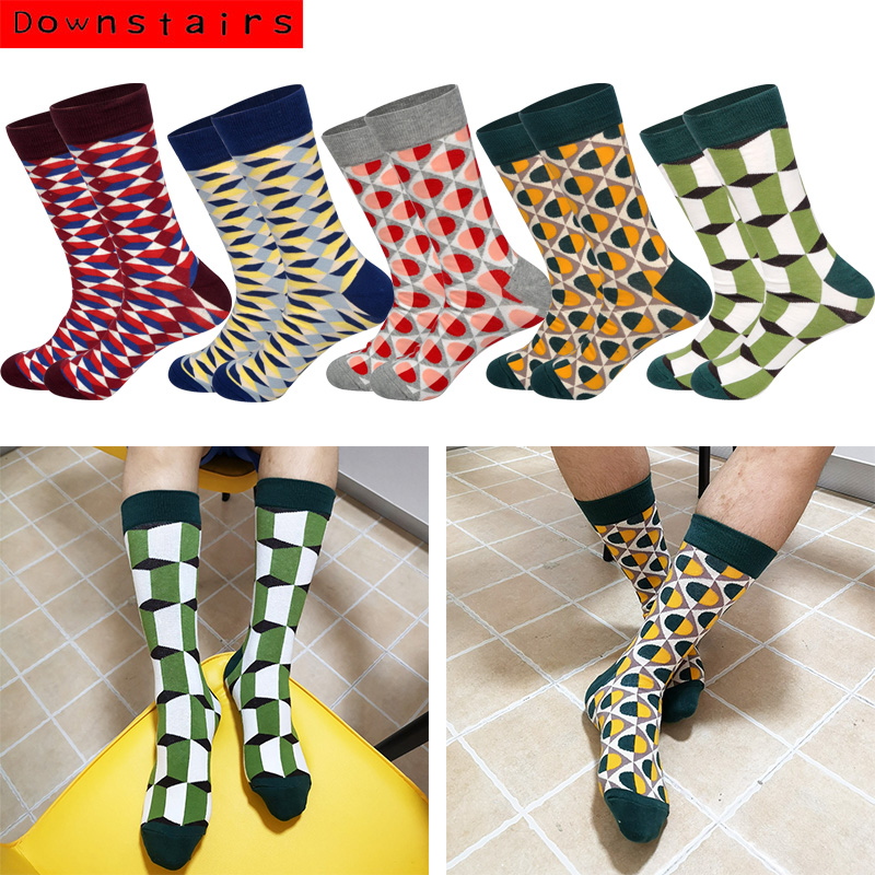 Downstairs Novelty Men's Socks 2019 Hot Breathable Cool British Style Casual Originality Pattern Brand Happy Socks Calcetines