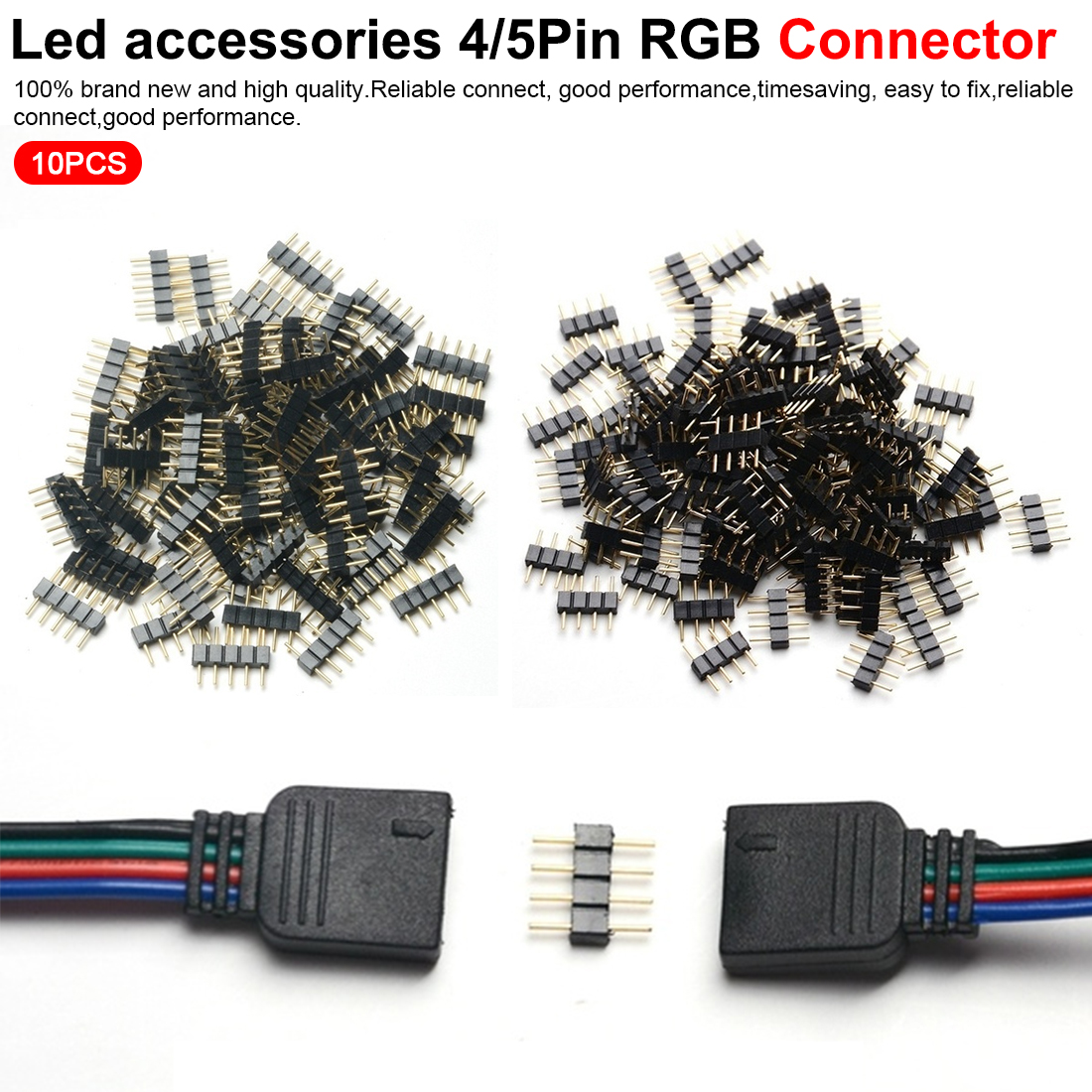 Nice Led Accessories 4 Pin/5Pin RGB Connector Adapter Pin Needle Male Type For RGB /RGBW 5050 3528 LED Strip Light
