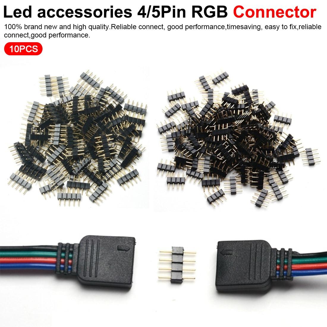 O tipo masculino da agulha do pino do adaptador do conector do rgb do pino dos acessórios 4 do diodo emissor de luz agradável/5pin para rgb/rgbw 5050 3528 conduziu a luz de tira