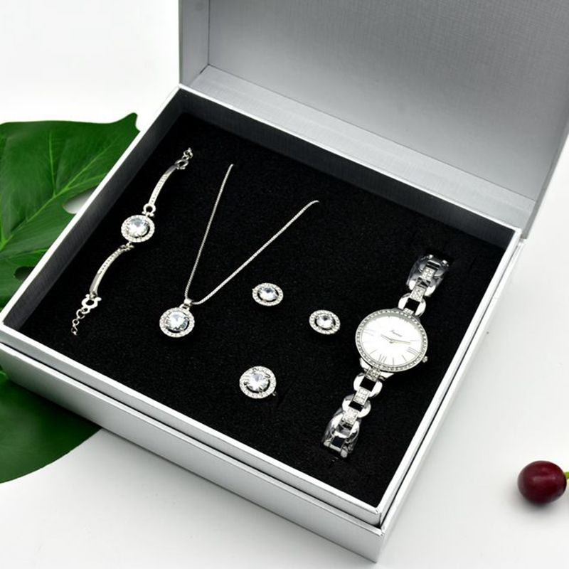 Women's Quartz Watch Set Luxury Five-piece Bracelet Necklace Ring Earrings Birthday Gift Fashion Valentine's Day Gift With Box