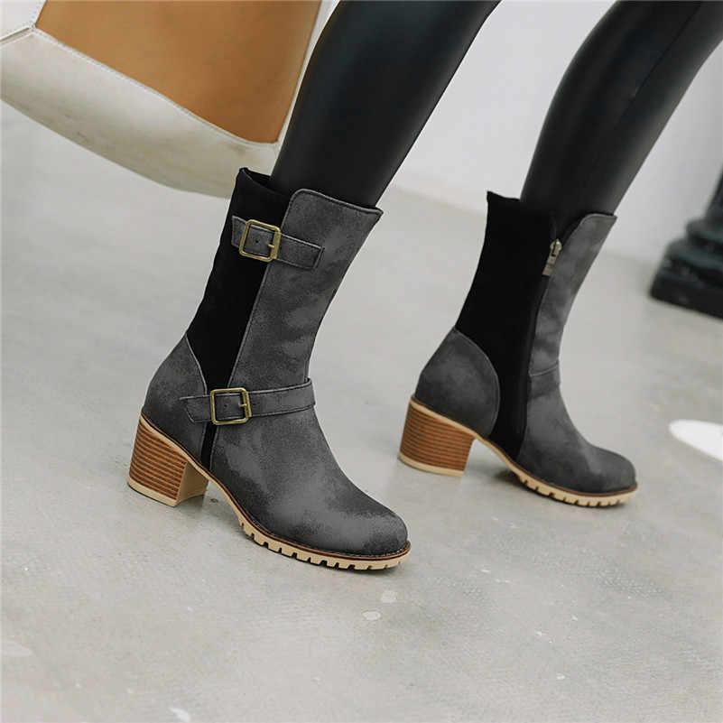 FEDONAS Vintage Yuvarlak Ayak Kadın Orta Buzağı Botları Suni Deri Toka fermuar Gece Kulübü Ayakkabı Kadın 2020 Kış Batı çizmeler