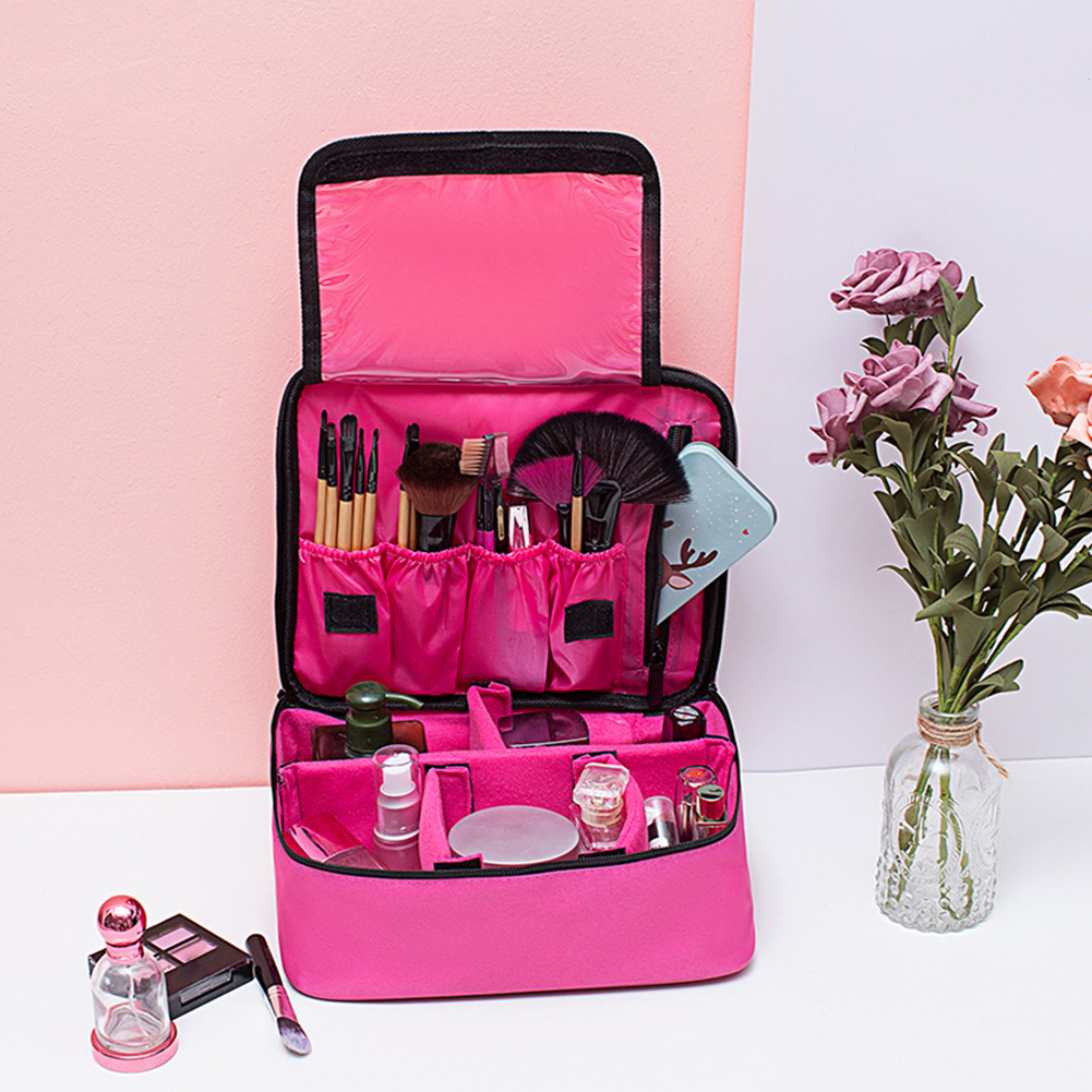 Large Capacity Oxford Cloth Travel Portable Waterproof Tote Zipper Storage Organizer Cosmetics Case Makeup Bag