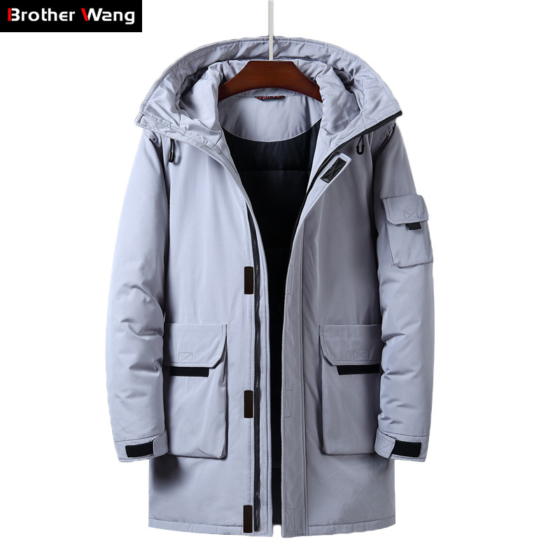 Men's Long Down Jacket 2019 Winter New Fashion Casual Hooded Thicken Warm White Duck Down Coat Male Brand Gray Yellow Beige